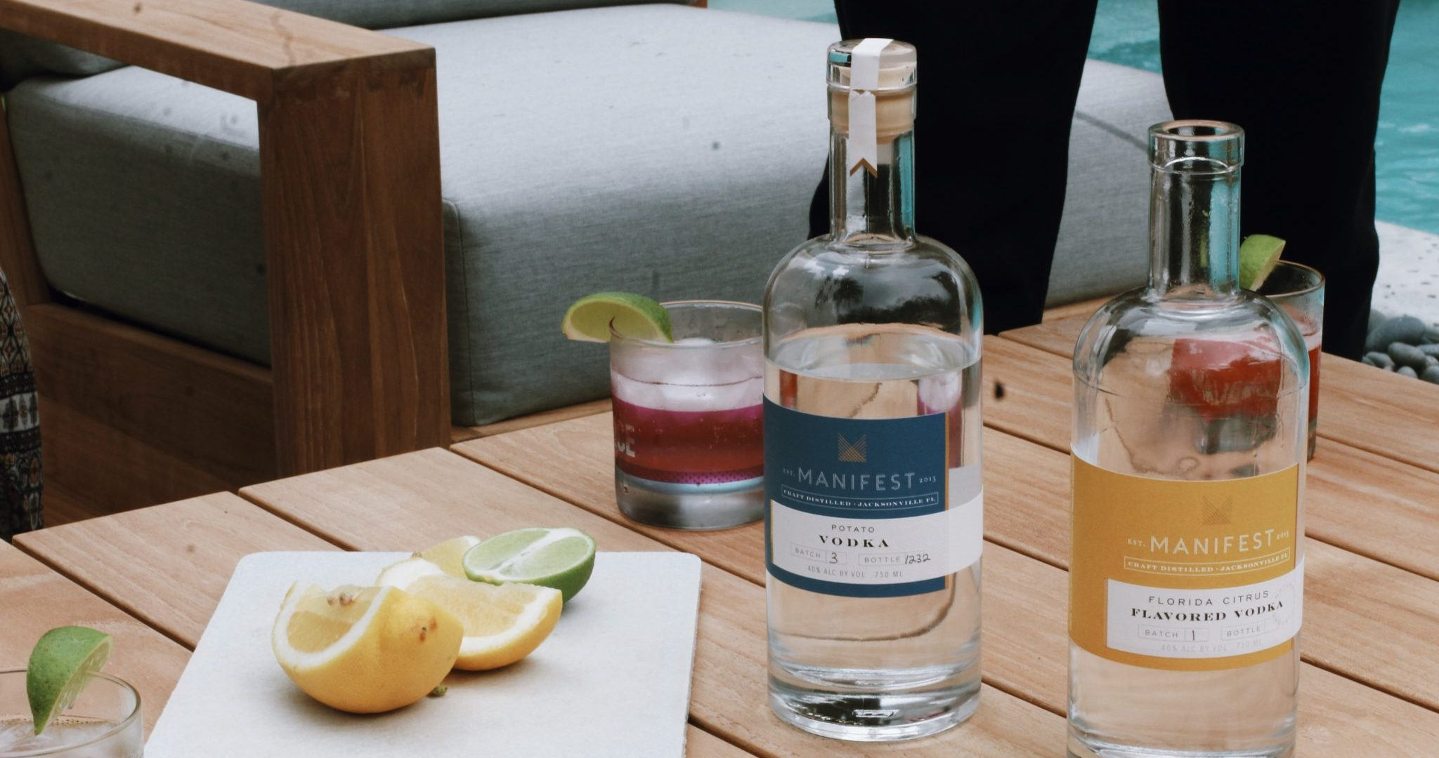 Manifest Distilling Products on a Patio